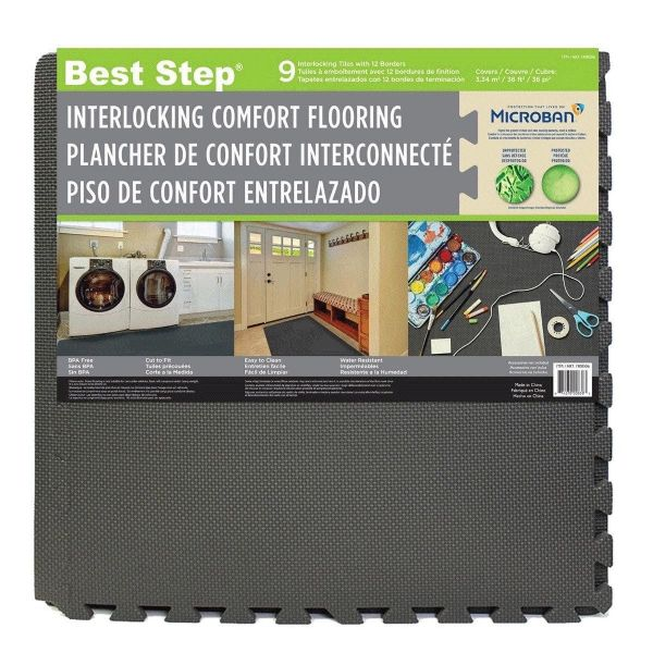 Best Step Microban Interlocking Foam Mats Comfort Flooring 9 Pack Gym/Garage